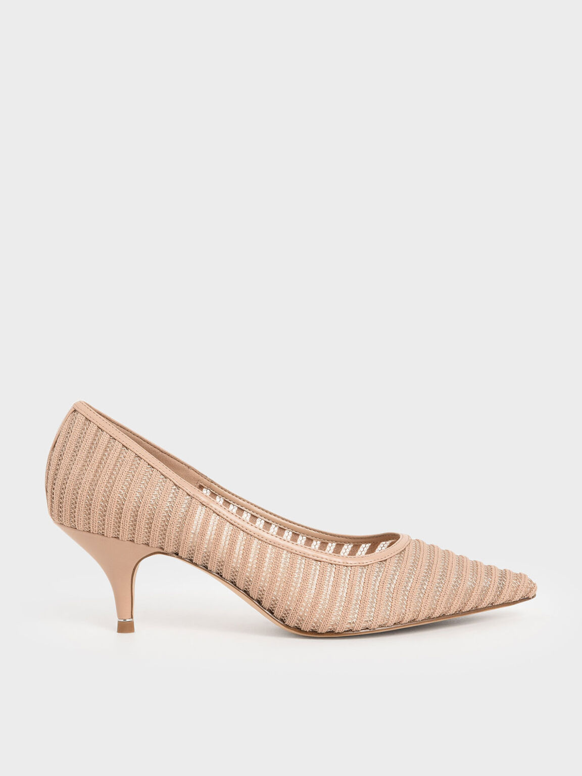 Mesh Pointed Toe Pumps, Nude, hi-res
