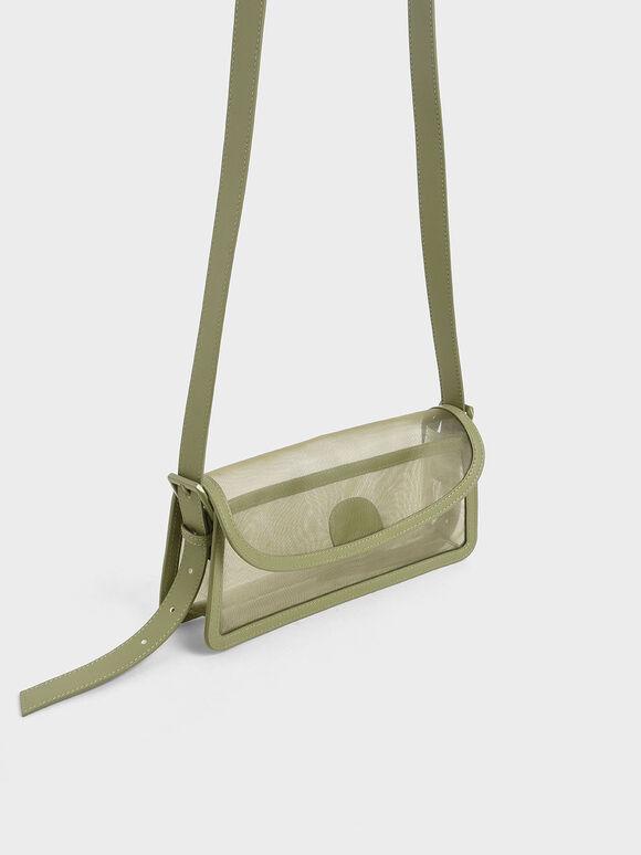 Mesh Shoulder Bag, Green, hi-res