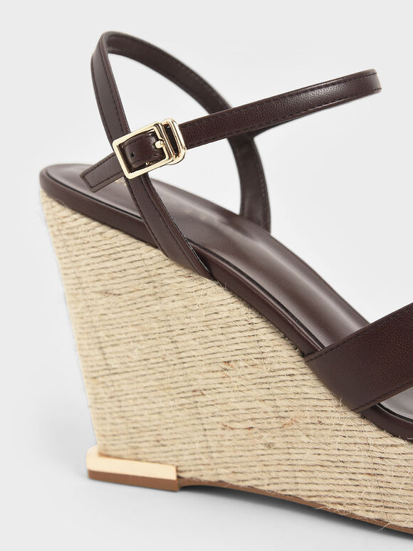 Asymmetric Strap Platform Wedges, Brown, hi-res