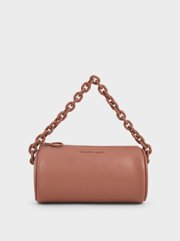 Chain Handle Crossbody Bag, Brick, hi-res