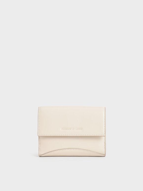 Snap Button Mini Short Wallet, Cream, hi-res