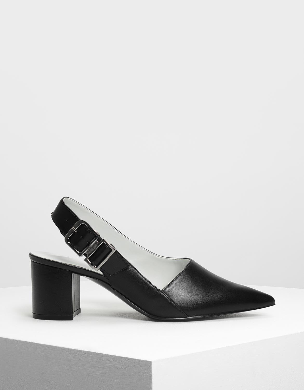 Black Pointed Toe Block Heel Slingbacks