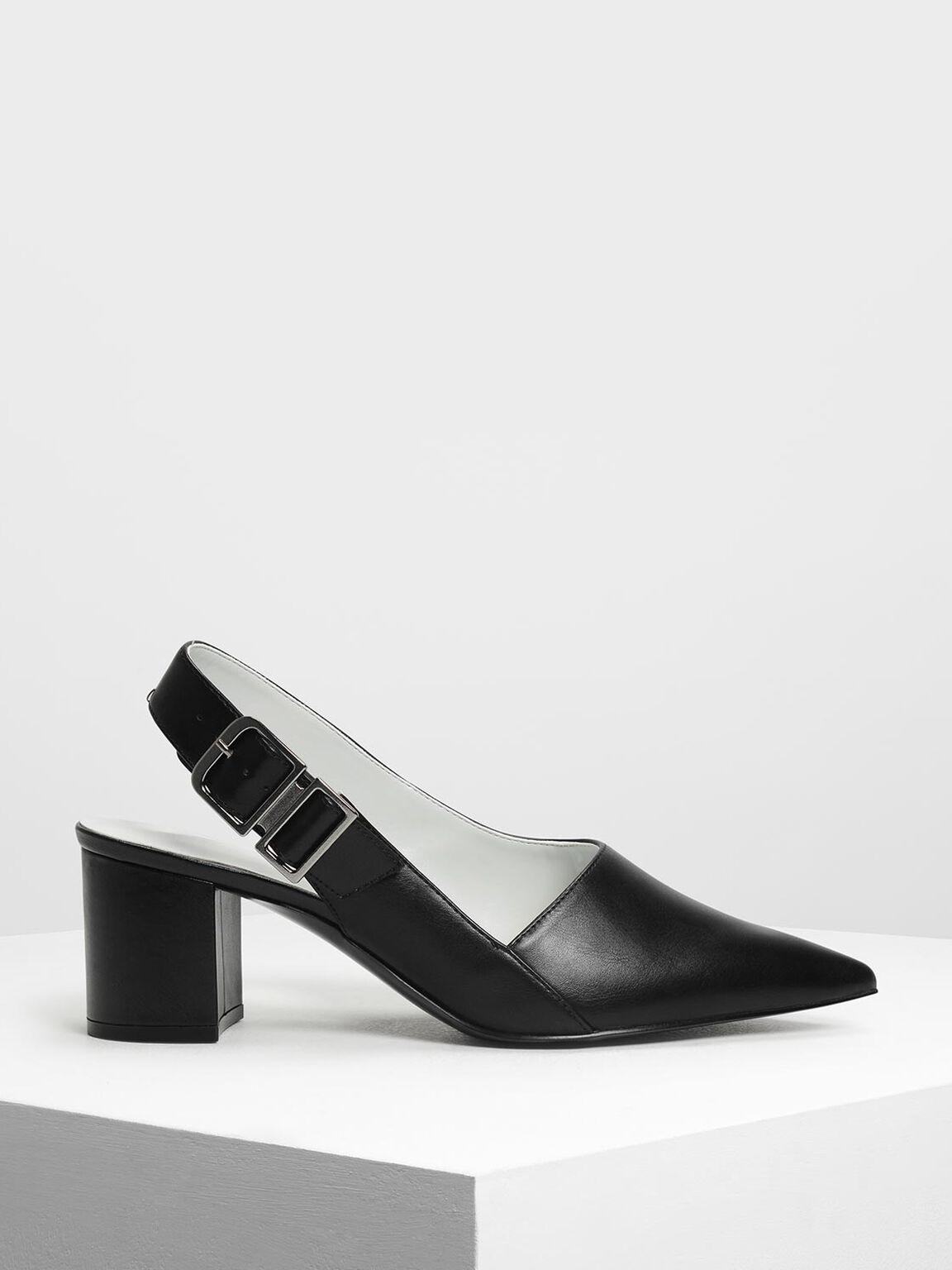 Pointed Toe Block Heel Slingbacks, Black, hi-res