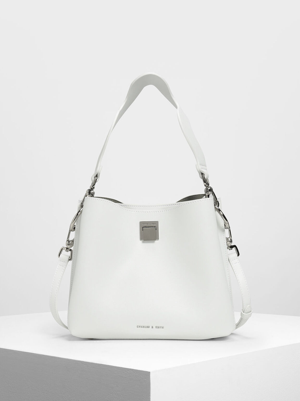 Buckle Shoulder Bag, White, hi-res