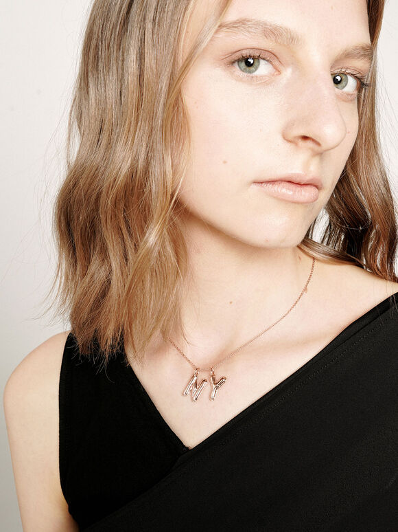 Alphabet 'N' Charm, Rose Gold, hi-res