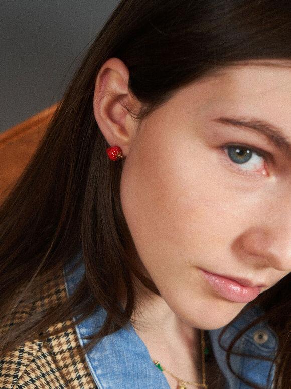 Fruits Stud Earrings, Red, hi-res