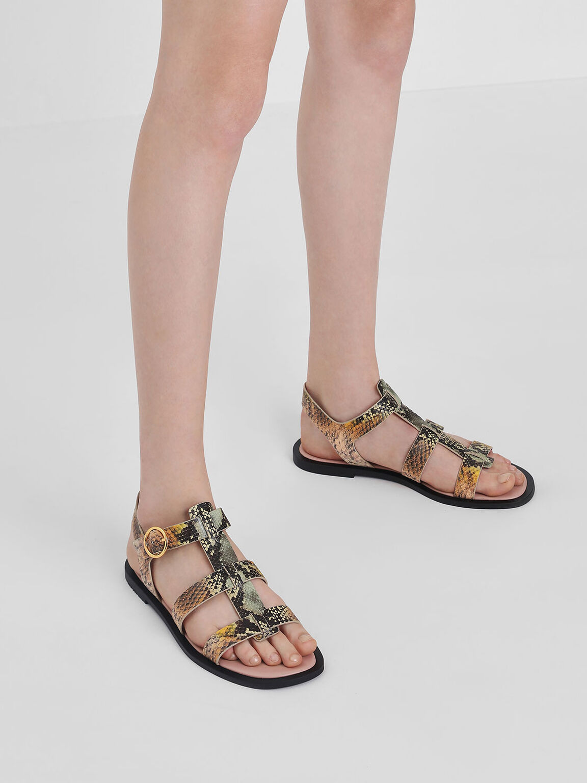 Snake Print Strappy Sandals, Multi, hi-res