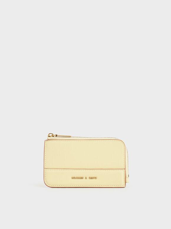Top Zip Card Holder, Butter, hi-res