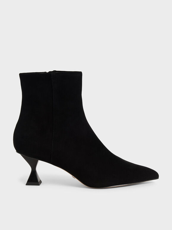 Sculptural Heel Ankle Boots (Kid Suede), Black, hi-res
