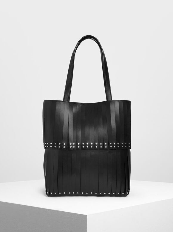 Full Fringe Tote Bag, Black, hi-res
