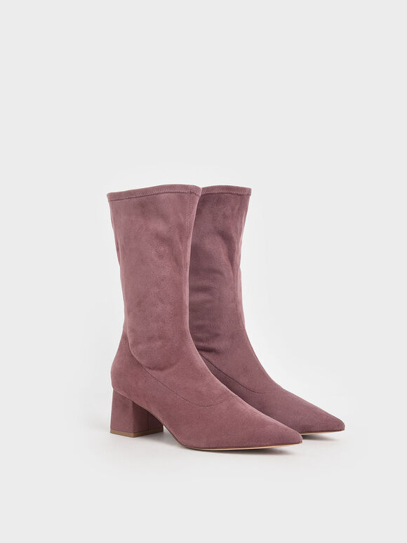 Textured Pointed Toe Calf Boots, Mauve, hi-res