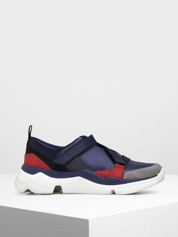 Velcro Slip-On Sneakers, Dark Blue, hi-res