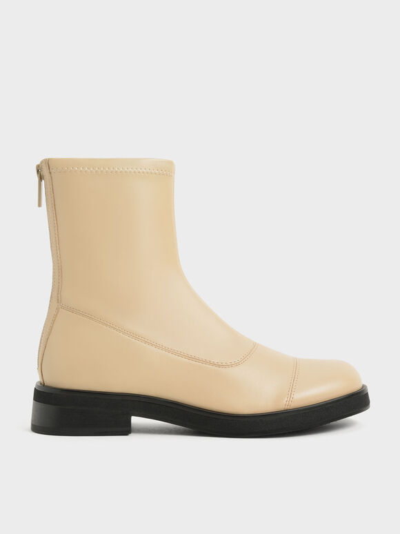 Round Toe Zip-Up Ankle Boots, Sand, hi-res
