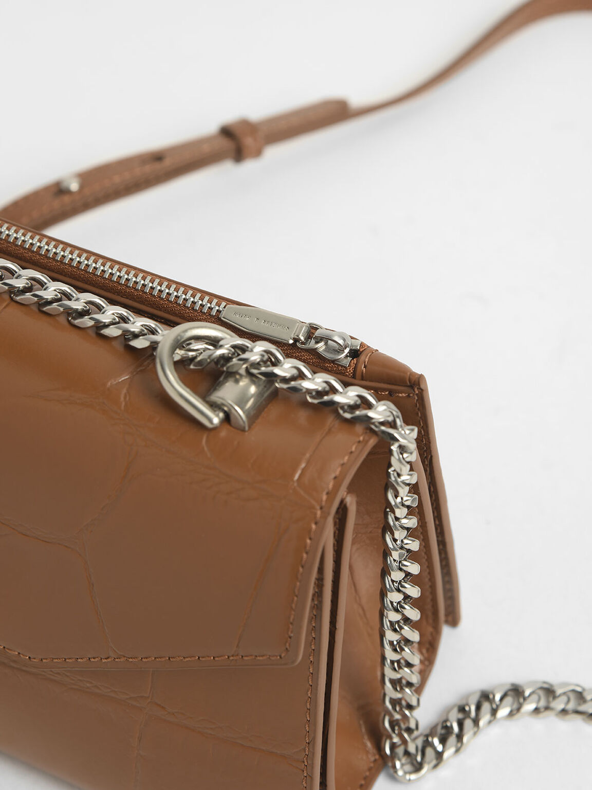 Croc-Effect Turn-Lock Crossbody Bag, Cognac, hi-res
