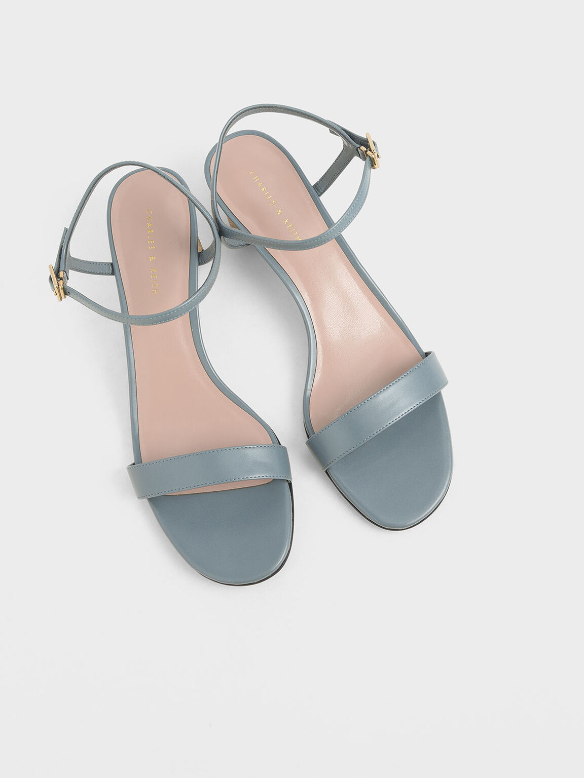 Sculptural Chrome Heel Sandals, Blue, hi-res