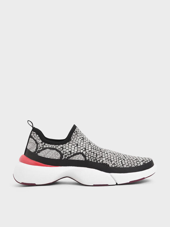4WARD Collection: Snake Print Knitted Slip-On Sneakers, Grey, hi-res