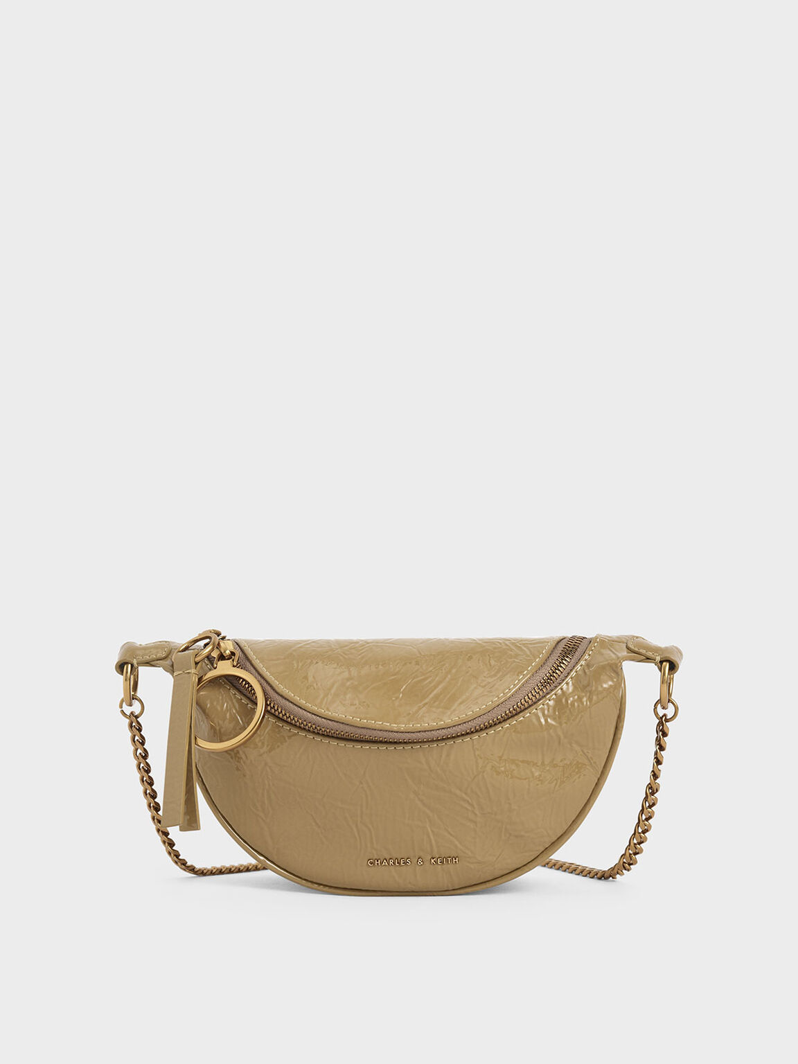 Wrinkled Patent Semi-Circle Crossbody Bag, Sand, hi-res