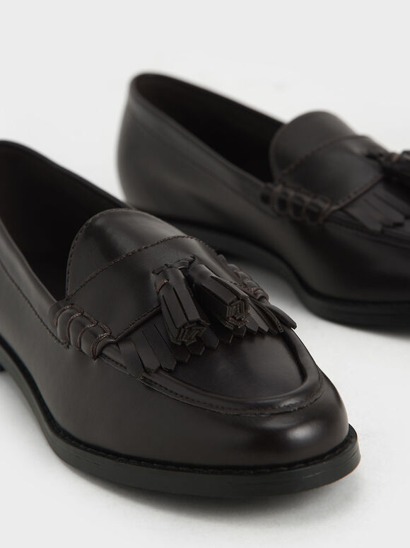 Tassel Penny Loafers, Dark Brown, hi-res