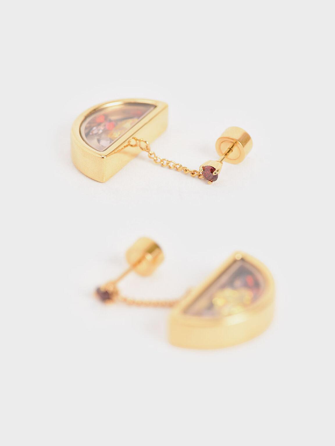 Semi-Circle Floating Locket Drop Earrings, Gold, hi-res