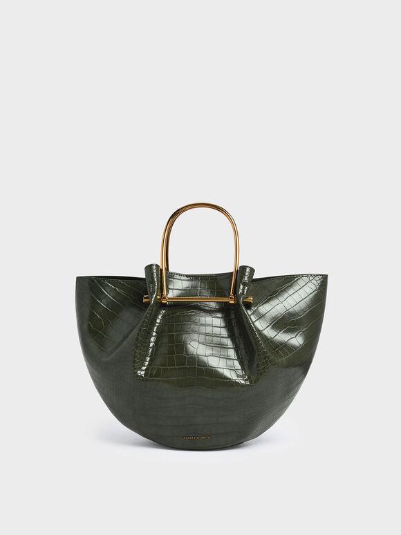 Croc-Effect Petal Fold Tote Bag, Green, hi-res