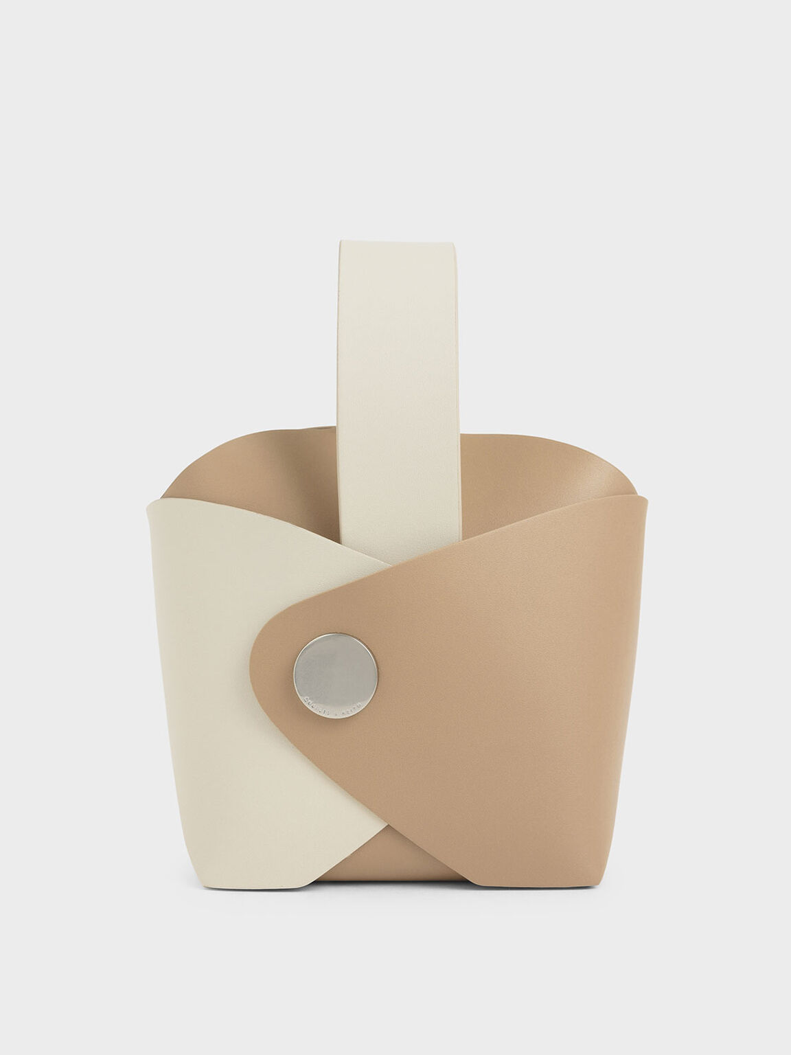 Two-Tone Mini Bucket Bag, Cream, hi-res