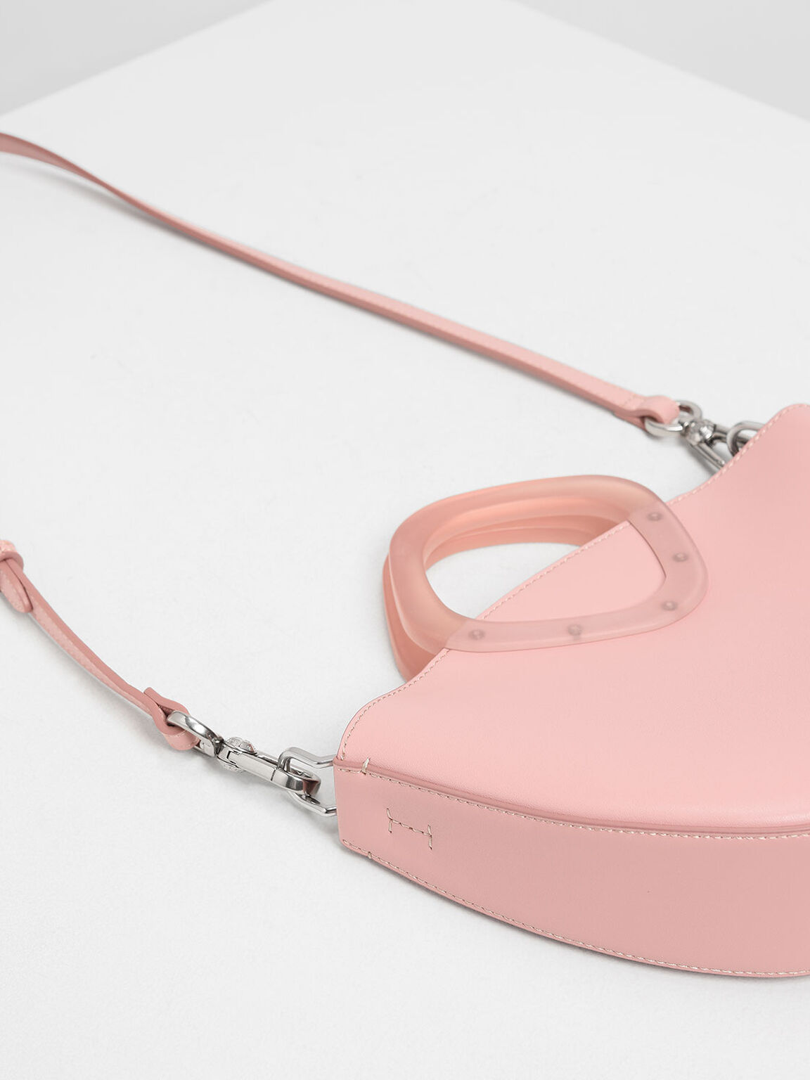 Semi Circle Top Handle Bag, Pink, hi-res