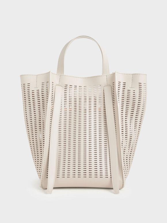 Large Laser-Cut Tote Bag, Cream, hi-res