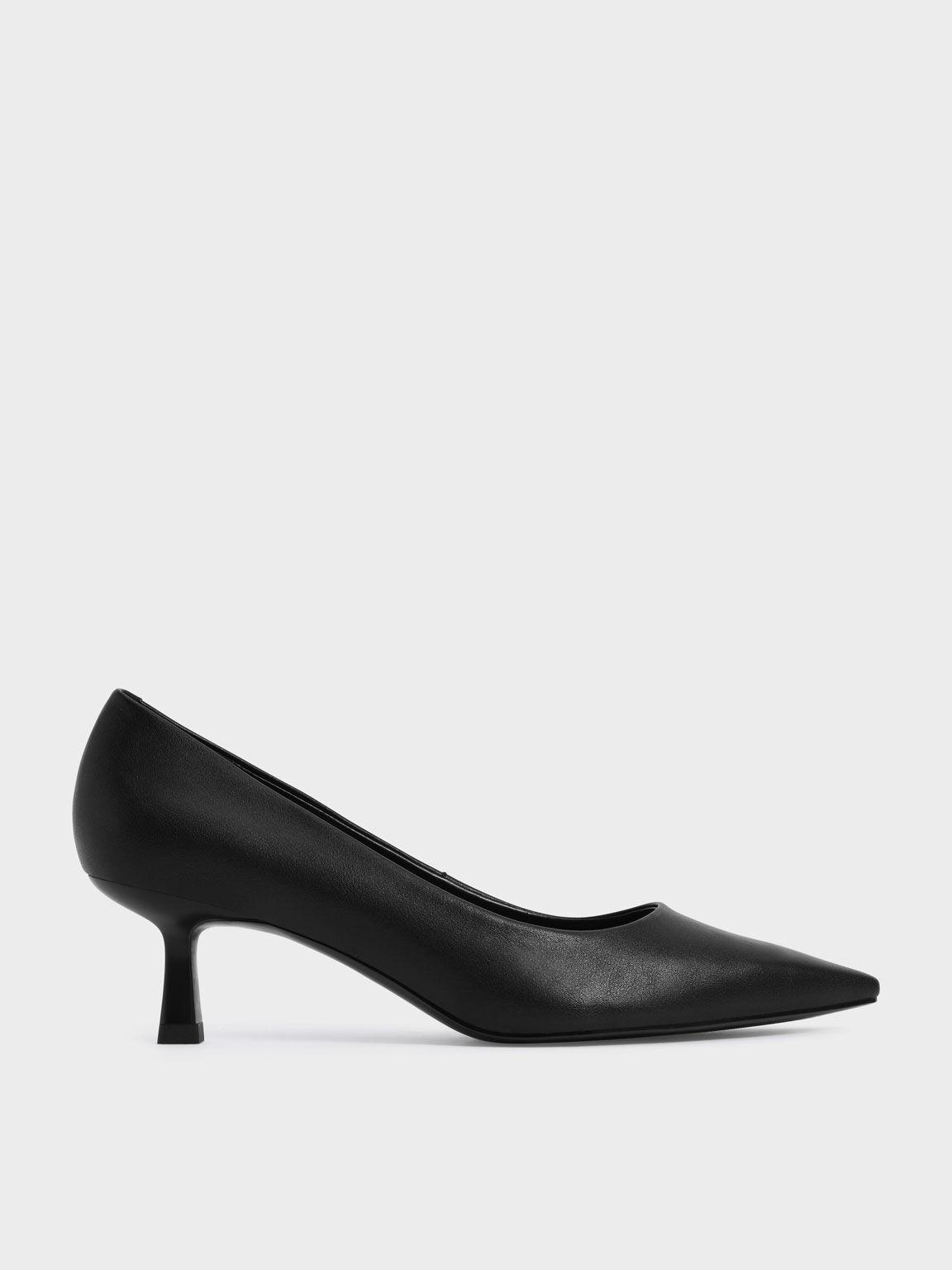Pointed Kitten Heel Pumps, Black, hi-res