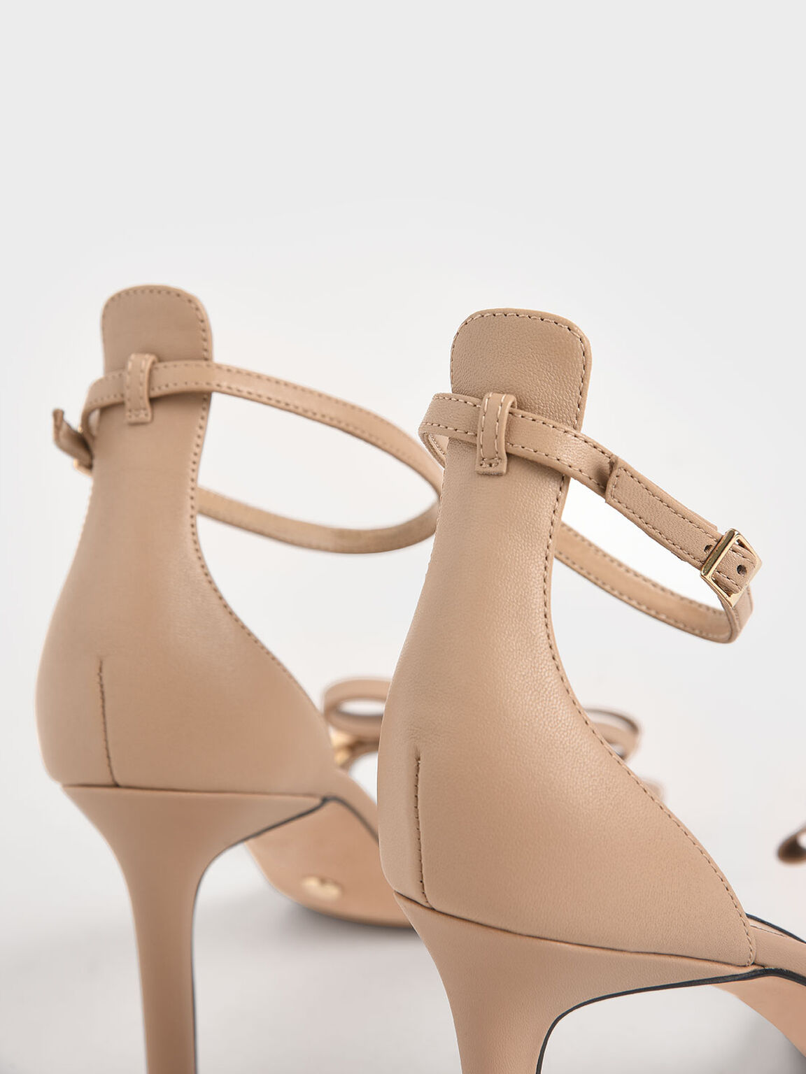 Leather Bow Sandals, Nude, hi-res