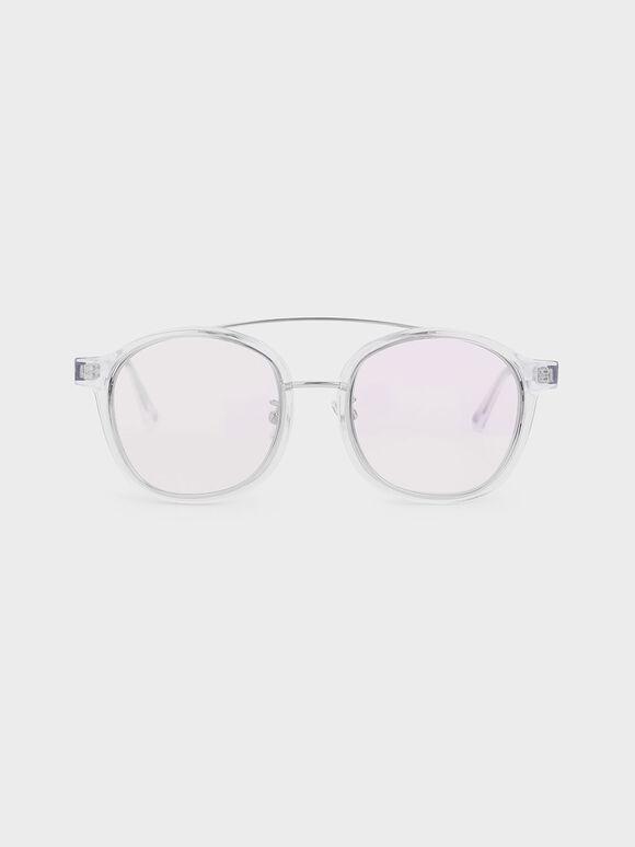 Gradient Tint Round Sunglasses, White, hi-res