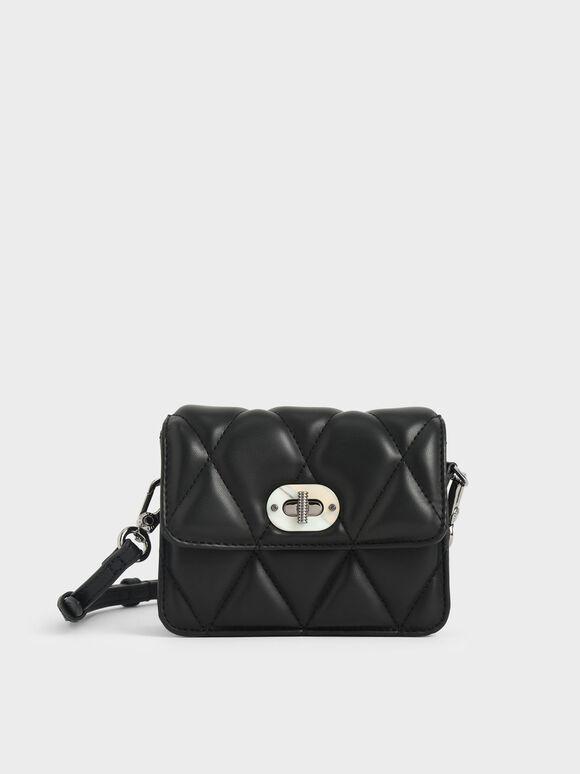 Girls' Quilted Crossbody Bag, Black, hi-res