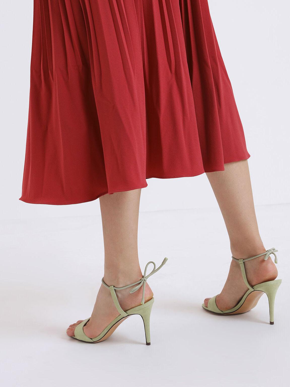 Ankle Tie Stiletto Sandals, Green, hi-res