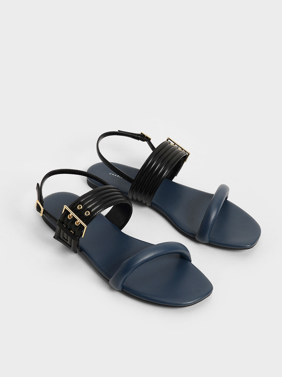 Two-Tone Puffy Grommet Sandals, Blue, hi-res