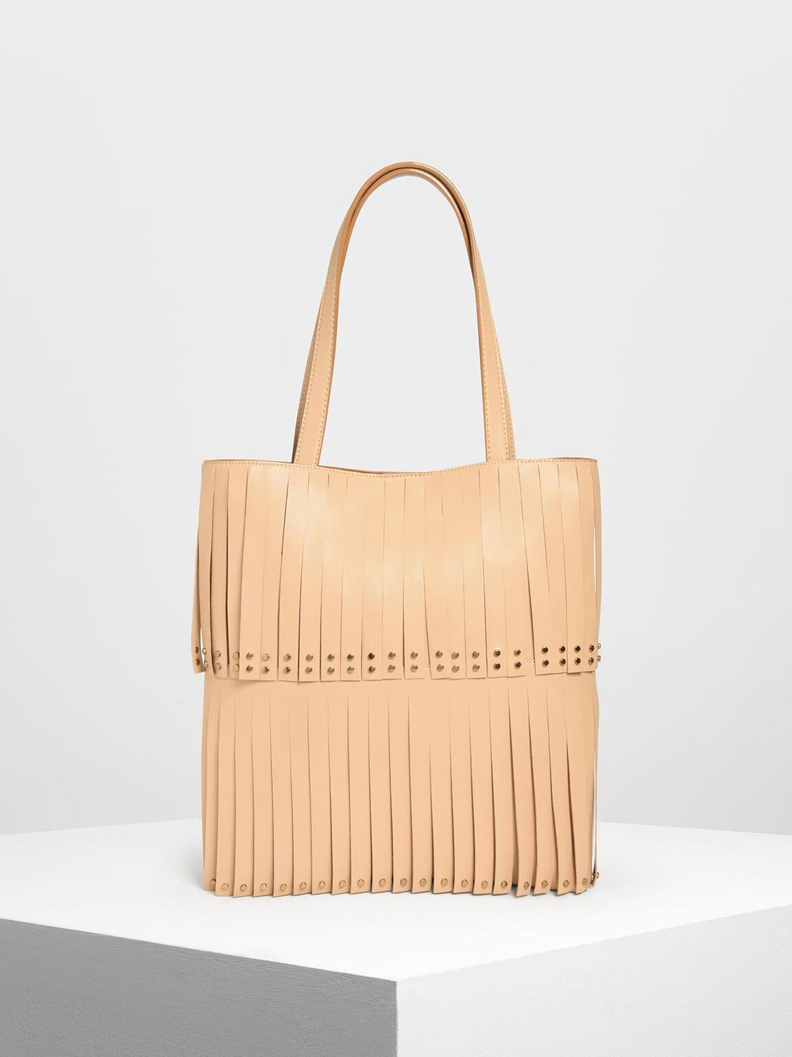 Full Fringe Tote Bag, Beige, hi-res