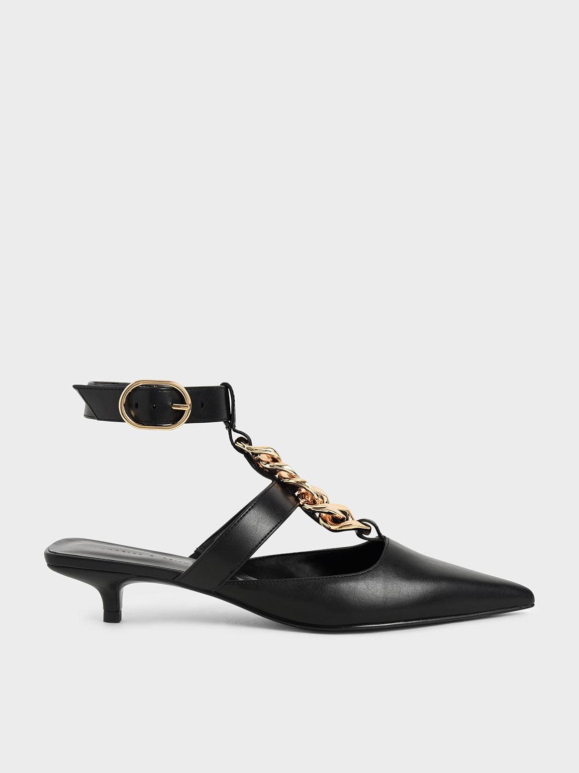 Chain Link Ankle Strap Court Shoes, Black, hi-res
