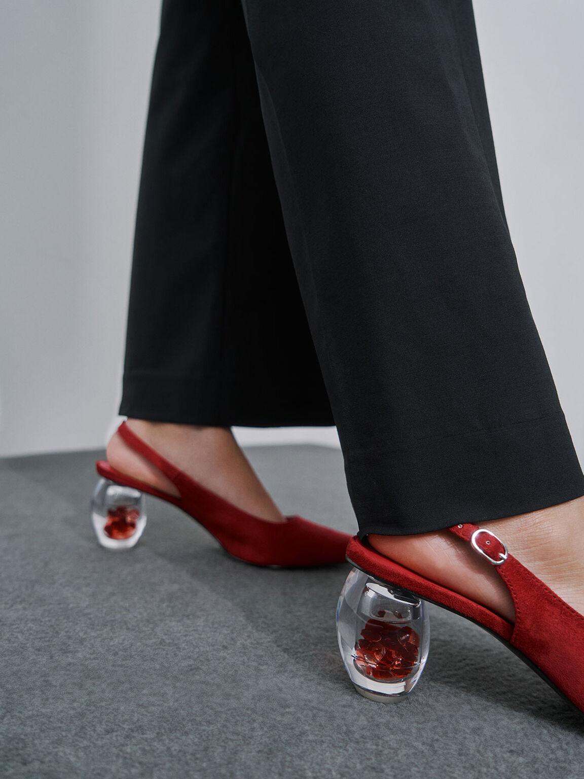 Textured Sculptural Heel Slingback Court Shoes, Red, hi-res