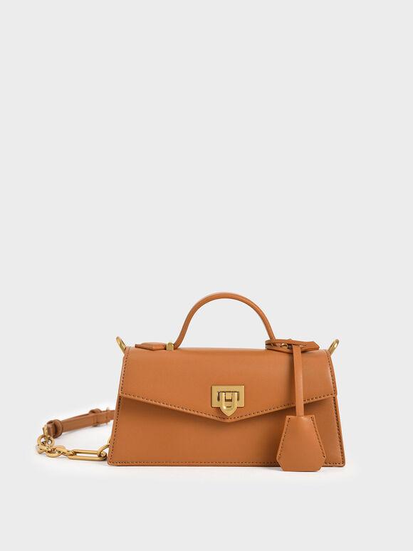 Trapeze Top Handle Bag, Cognac, hi-res