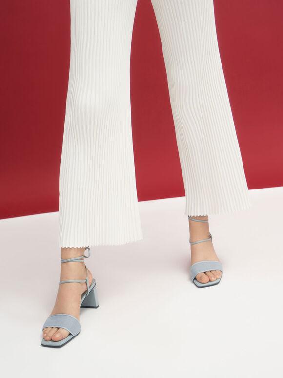Linen Tie-Around Sandals, Light Blue, hi-res