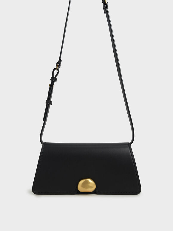 Metallic Accent Trapeze Shoulder Bag, Black, hi-res