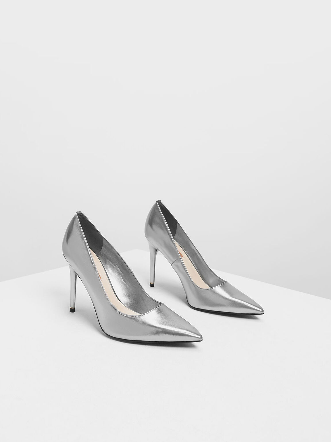 Pointed Toe Pumps, Silver, hi-res