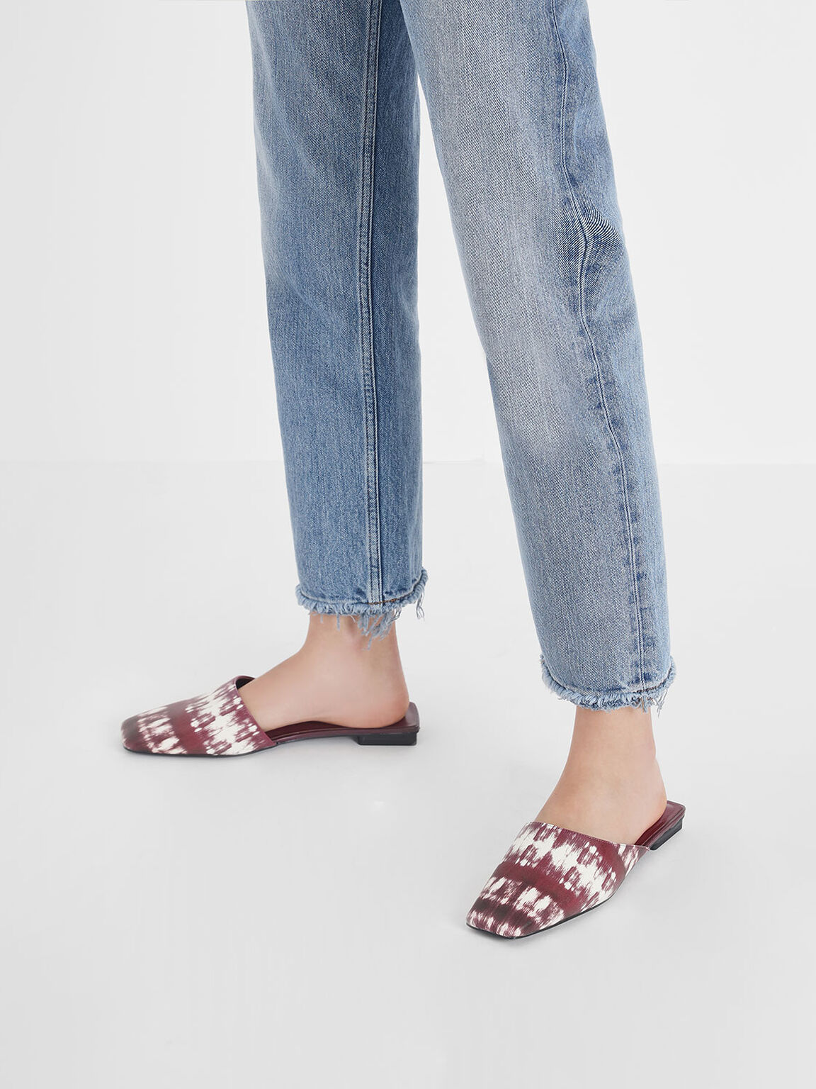 Printed Square Toe Asymmetrical Mules, Burgundy, hi-res