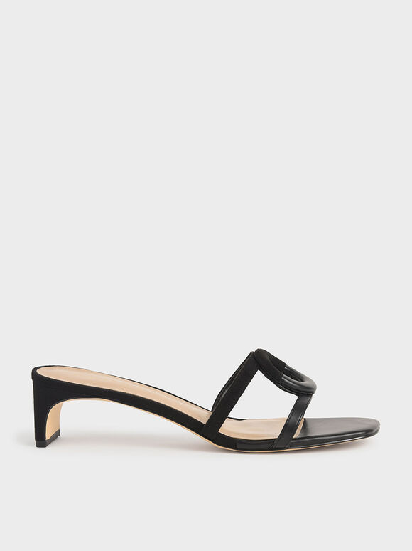 Mismatched Blade Heel Sandals, Black, hi-res
