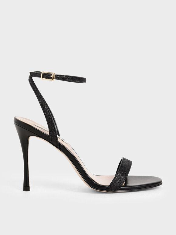 Glitter Ankle Strap Stiletto Heels, Black, hi-res