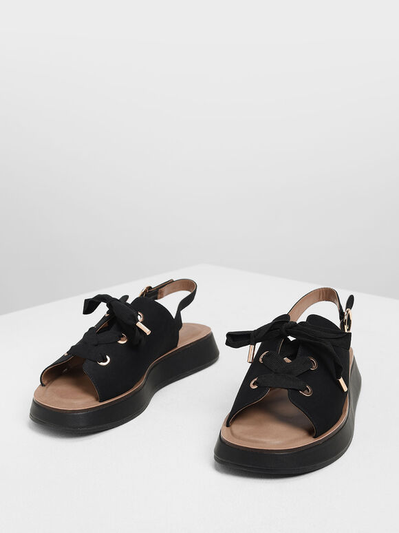 Laced Slingback Flatforms, Black, hi-res