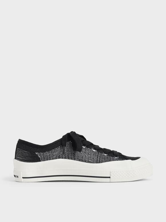 Knitted Low-Top Sneakers, Black, hi-res