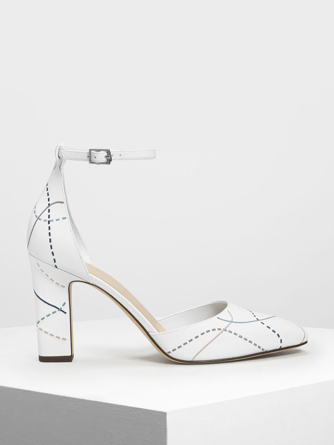 Almond Toe Ankle Strap Heels, White, hi-res