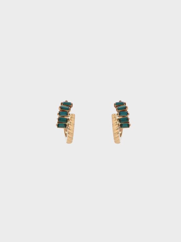Swarovski® Crystal Embellished Huggie Hoop Earrings, Green, hi-res