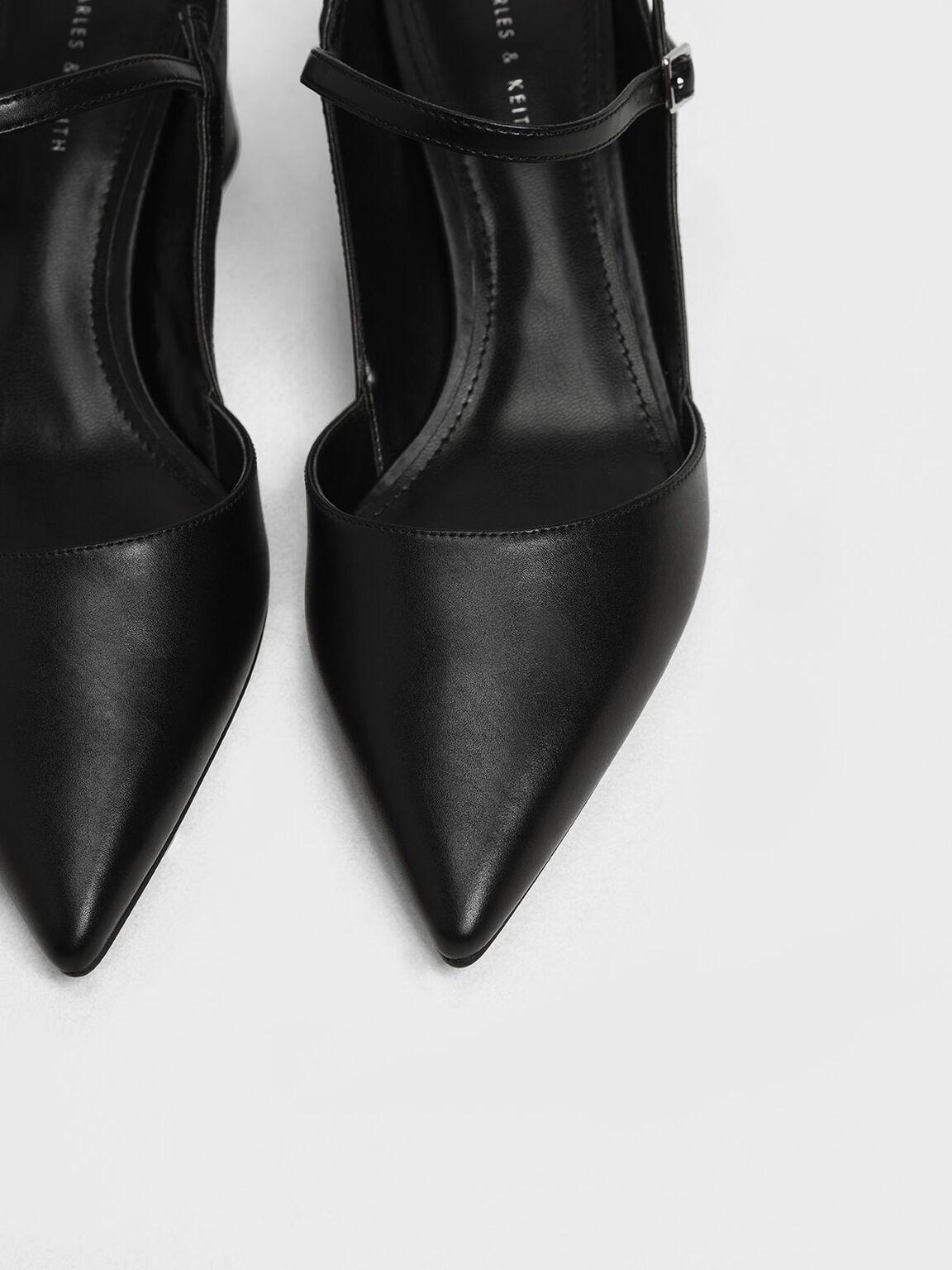 Circular Block Heel Slingbacks, Black, hi-res