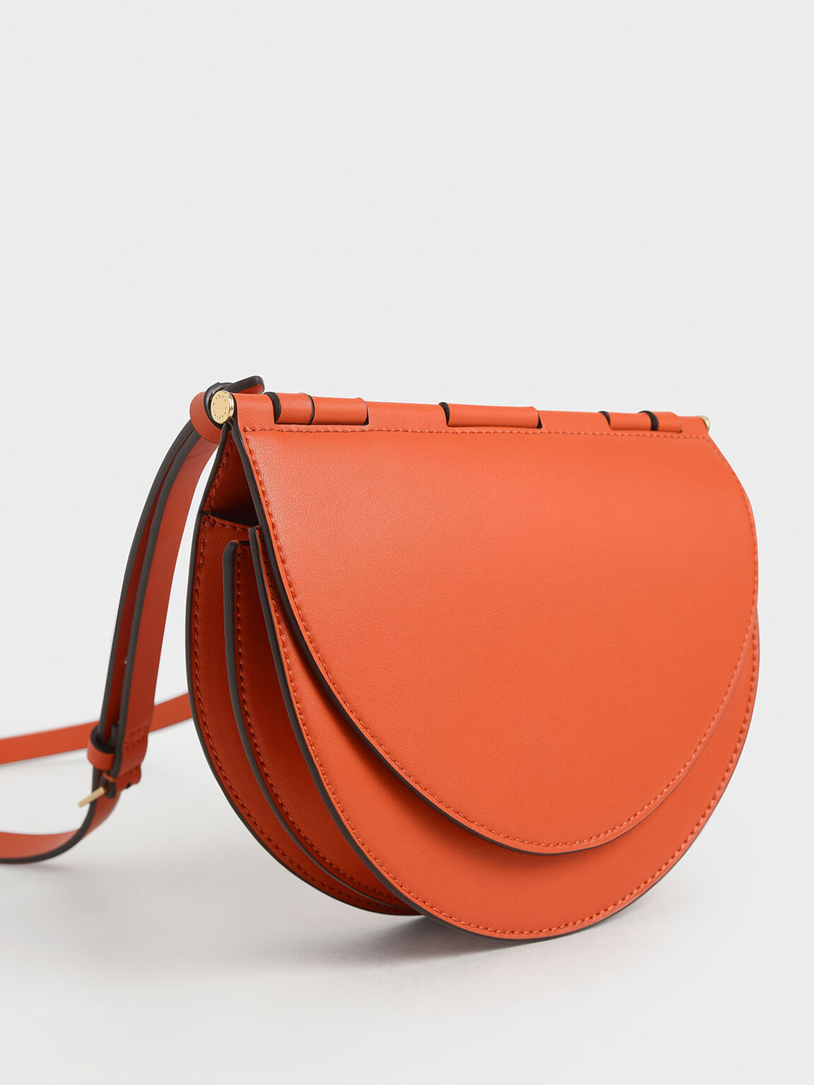 Semi-Circle Crossbody Bag, Orange, hi-res