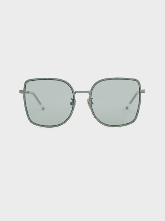 Geometric Butterfly Sunglasses, Green, hi-res